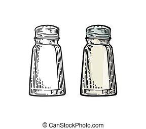 Salt shaker. Vintage black and color vector engraving illustration