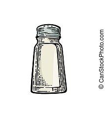 Salt shaker. Vintage color vector engraving illustration