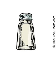 Salt shaker. Vintage color vector engraving illustration