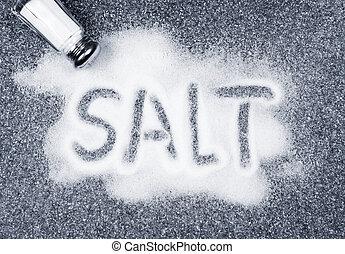 salt, spill, från, shaker