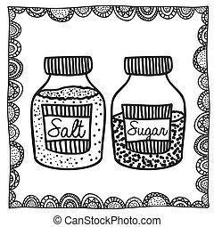 salt, teckning, socker