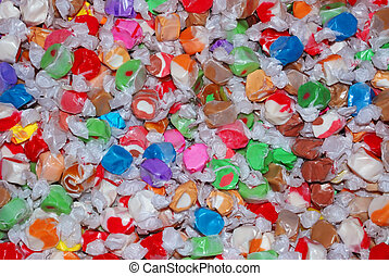 Close up of salt water taffy candy