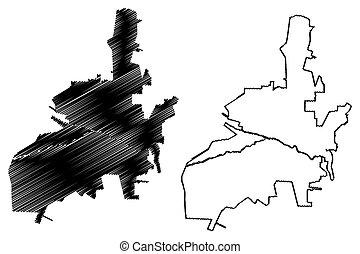 Salta City (Argentine Republic, Salta Province) map vector ...