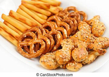 saltaktig, snacks
