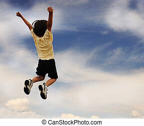 saltando alto, cima, criança, celebra