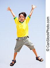 saltando alto, criança, esperto, ar