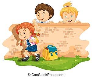 saltando, scolari, giorno