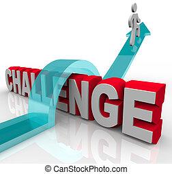 saltando, uno, sfida, a, ottenere, successo