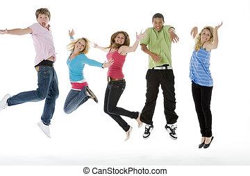 saltar, adolescentes, aire