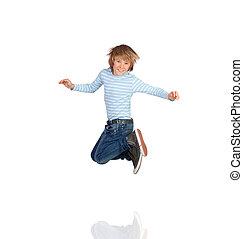 saltar, adorable, niño