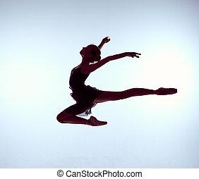 saltar, ballet, gris, joven, bailarín, fondo., hermoso