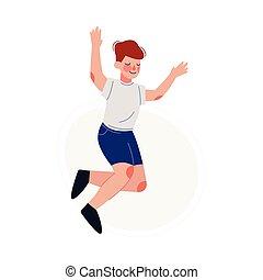 saltar, camiseta azul, niño, ilustración, niño, alegremente, feliz, teniendo, vector, calzoncillos, blanco, sonriente, diversión
