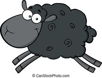 saltar, carácter, sheep, negro