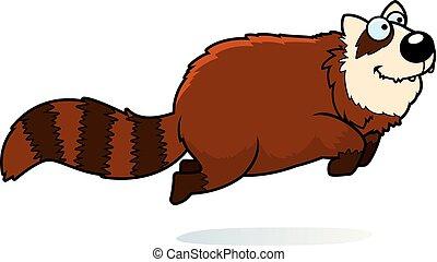 saltar, caricatura, panda rojo
