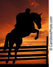 saltar cavalo, cavaleiro
