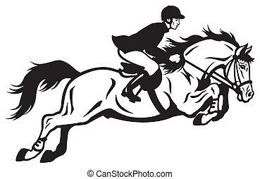 saltar cavalo, cavaleiro, eqüestre