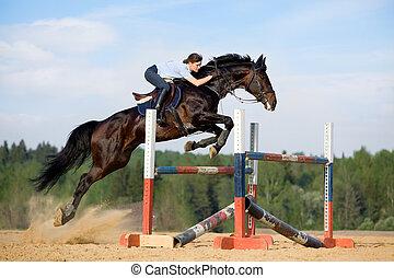 saltar cavalo, -, menina jovem, montando, h