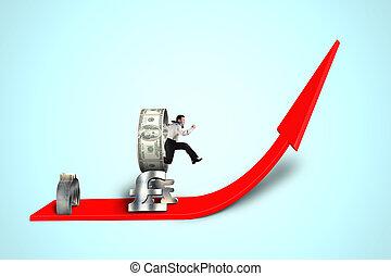 saltar, dinero, hombre de negocios, encima, obstáculo, ...