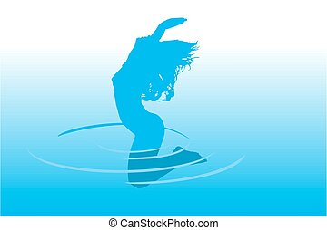 saltar, en, agua