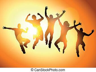 saltar, en, el, sol
