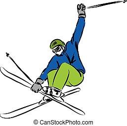 saltar, esquí, ilustración