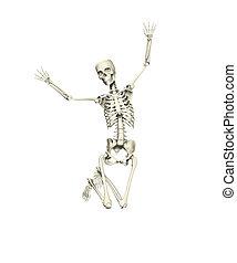 saltar, esqueleto, feliz
