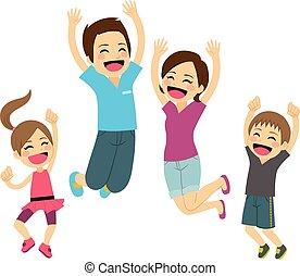 saltar, familia , feliz