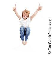 saltar, feliz, arriba, niño, pulgares
