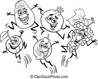 saltar, fruits, caricatura, libro colorear