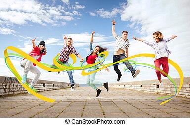 saltar, grupo, adolescentes