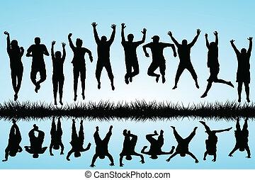 saltar, grupo, jóvenes