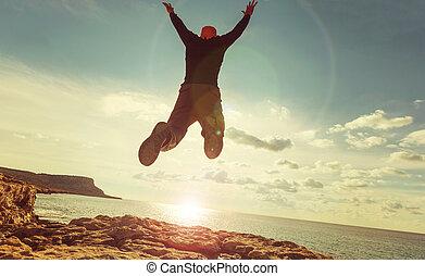 saltar, hombre