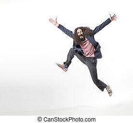 saltar, hombre, impar, retrato