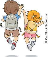 saltar, llevando, vista, espalda, mochila, niños