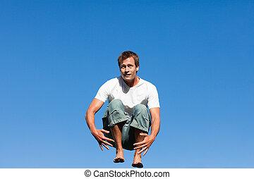 saltar, medio, hombre, aire