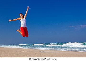 saltar, mujer, joven