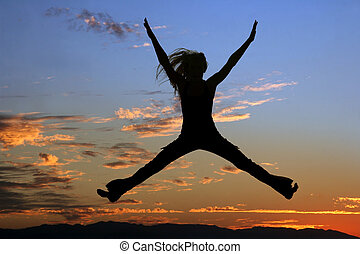 saltar, mujer, silueta