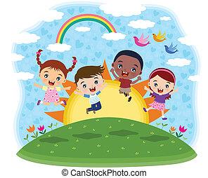 saltar, multicultural, niños
