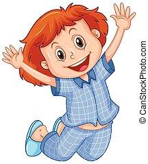 saltar, niña, azul, pijama