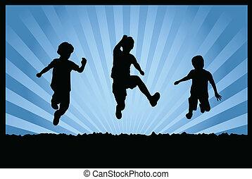 saltar, niños