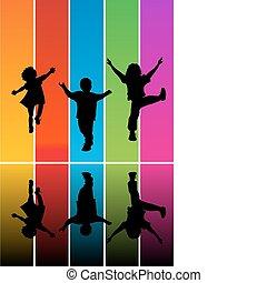 saltar, niños, siluetas