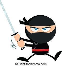 saltar, ninja, katana, guerrero