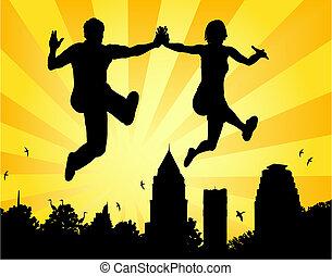saltar, pareja