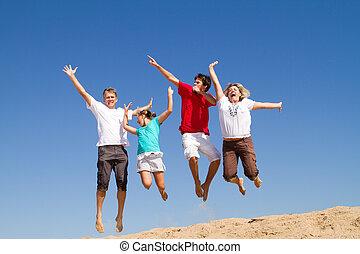 saltar, playa, familia