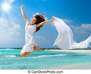 saltar, playa, niña, bufanda, hermoso, blanco