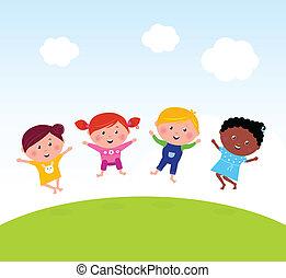 saltar, pradera, feliz, verano, grupo, multicultural, niños