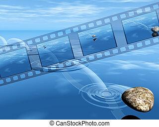 saltar, roca, vídeo, filmstrip