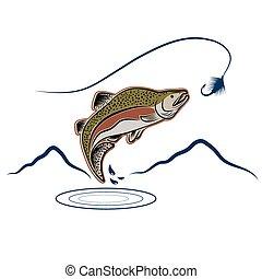 saltar, salmón, en, paisaje, plano de fondo