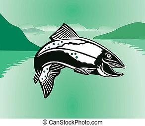saltar, salmón
