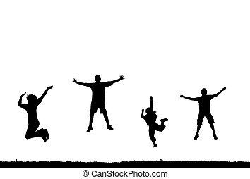 saltar, silueta, gente